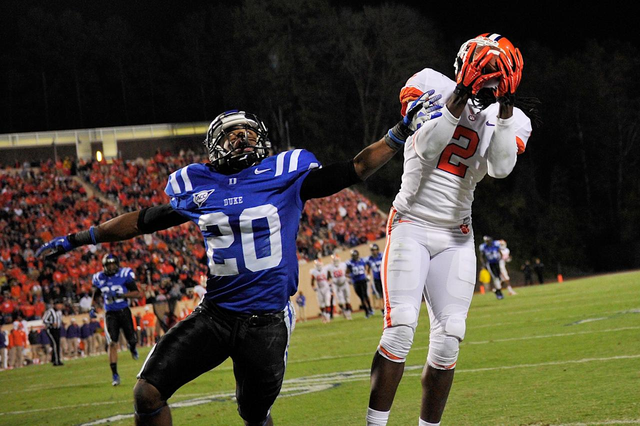 DURHAM, NC - NOVEMBER 03:  Sammy Watkins #2 of the Clemson Tigers makes an acrobatic catch along the sideline against defender Lee Butler #20 of the Duke Blue Devils during play at Wallace Wade Stadium on November 3, 2012 in Durham, North Carolina.  (Photo by Grant Halverson/Getty Images)