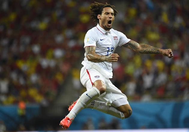 US midfielder Jermaine Jones celebrates after scoring during a Group G football match between USA and Portugal at the Amazonia Arena in Manaus during the 2014 FIFA World Cup on June 22, 2014. (AFP Photo/Odd Andersen)