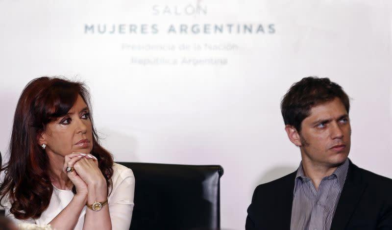 Argentina's President Fernandez de Kirchner and Economy Minister Axel Kicillof at the Casa Rosada Presidential Palace in Buenos Aires