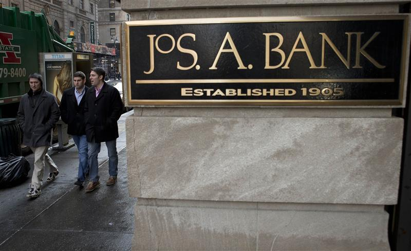 Sign for clothing retailer Jos. A. Bank is pictured in the Manhattan borough of New York