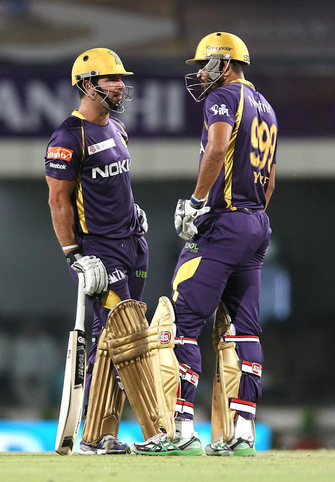 Ryan ten Doeschate of Kolkata Knight Riders and Yusuf Pathan of Kolkata Knight Riders between overs during match 65 of the Pepsi Indian Premier League between The Kolkata Knight Riders and the Pune Warriors India held at the JSCA International Stadium Complex, Ranchi, India on the 15th May 2013..Photo by Shaun Roy-IPL-SPORTZPICS    ..Use of this image is subject to the terms and conditions as outlined by the BCCI. These terms can be found by following this link:..http://www.sportzpics.co.za/image/I0000SoRagM2cIEc