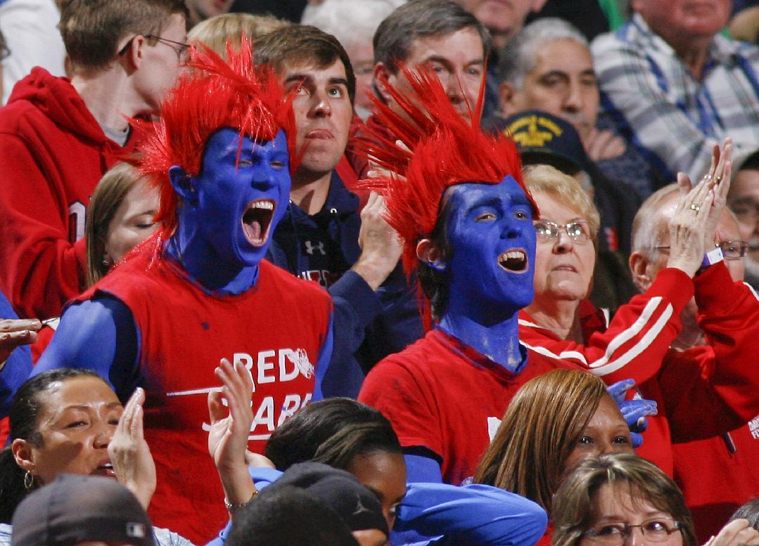 Dayton fans cheer during the first half of a second-round game against Ohio State in the NCAA college basketball tournament in Buffalo, N.Y., Thursday, March 20, 2014. (AP Photo/Bill Wippert)