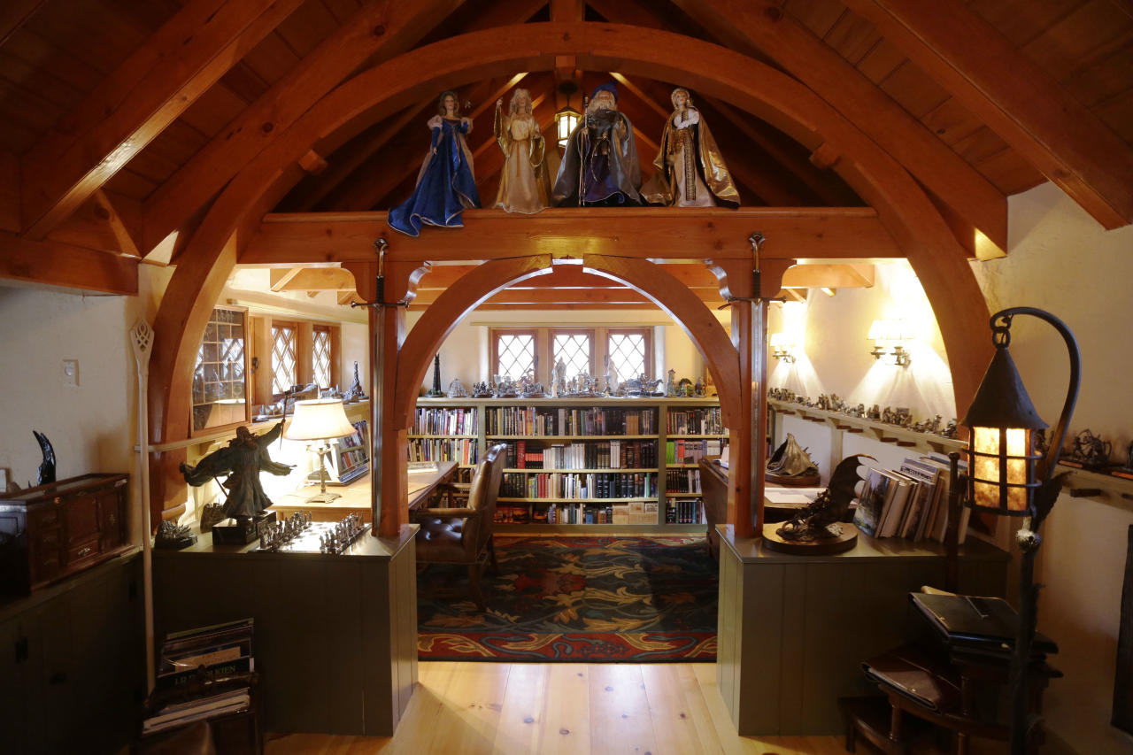 """Shown is an Interior view of the """"Hobbit House"""" Tuesday, Dec. 11, 2012, in Chester County, near Philadelphia. Architect Peter Archer has designed a """"Hobbit House"""" containing a world-class collection of J.R.R. Tolkien manuscripts and memorabilia. (AP Photo/Matt Rourke)"""