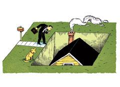 Illustration of a sinking house