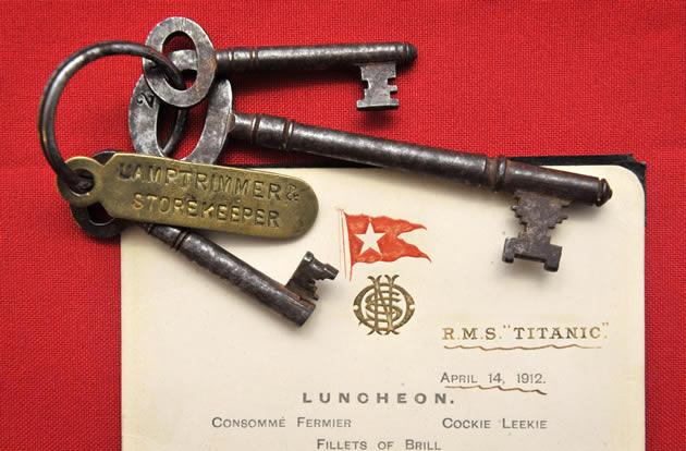 A menu given to first class passengers on the day of the sinking of the Titanic and a set of keys used by Titanic crewman Samuel Hemming to unlock the door where the lifeboat lanterns were held.