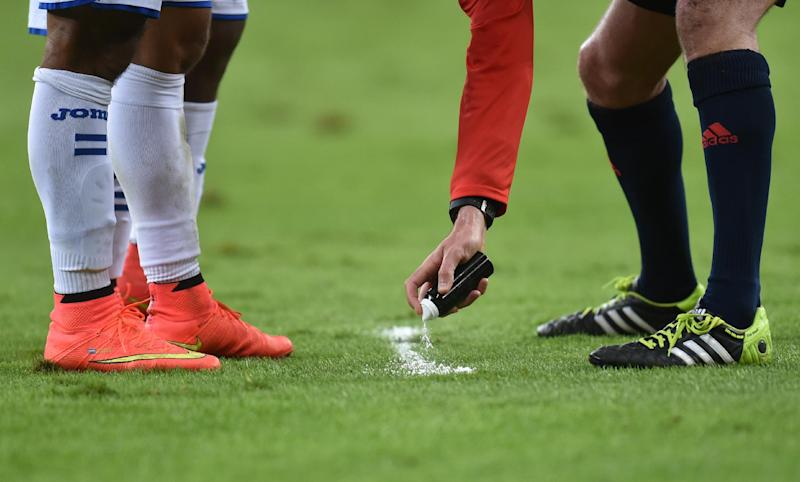 FIFA adopted the use of a biodegradable foam to help combat encroachment at free-kicks at the World Cup
