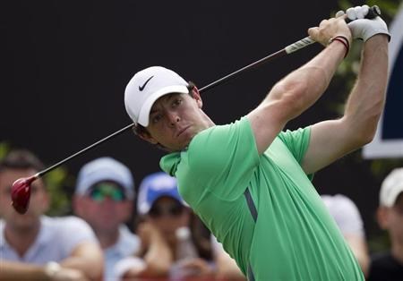McIlroy of Northern Ireland drives the ball on the second hole during the third round of the DP World Tour Championship in Dubai