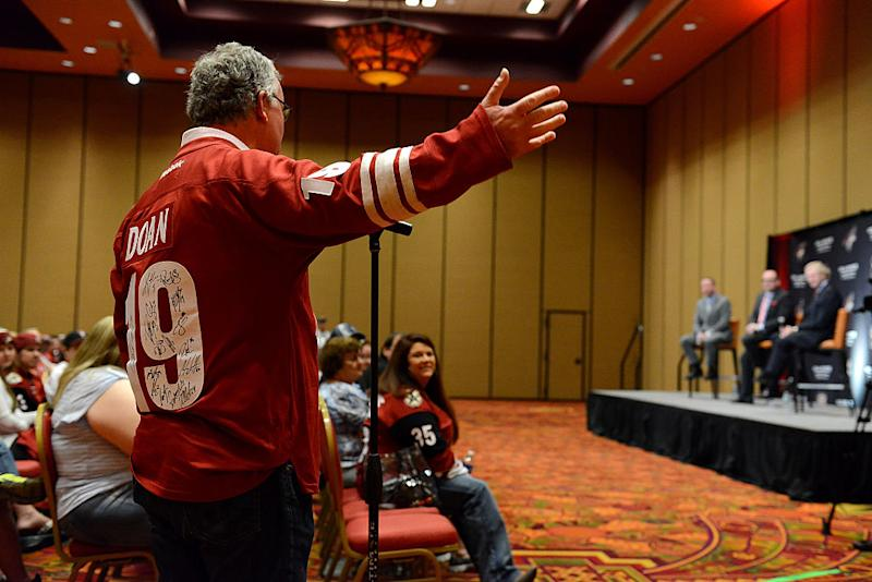 GLENDALE, AZ - MARCH 26: A fan asks a question to General Manager Don Maloney and President and CEO Anthony LeBlanc of the Arizona Coyotes during a Town Hall Meeting prior to a game against the Philadelphia Flyers at Gila River Arena on March 26, 2016 in Glendale, Arizona. (Photo by Norm Hall/NHLI via Getty Images)