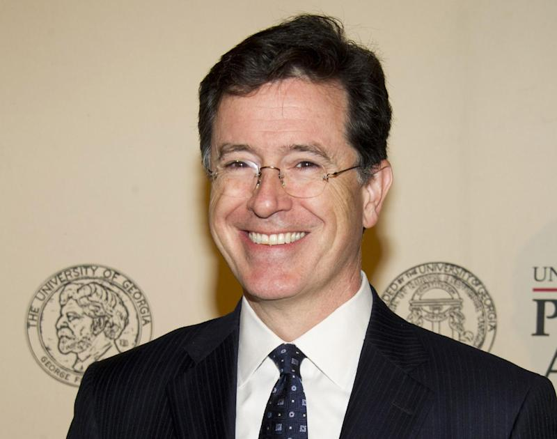 """FILE - In this May 21, 2012 file photo, TV personality and author Stephen Colbert attends the 71st Annual Peabody Awards in New York. Colbert, host of """"The Colbert Report,"""" on Comedy Central,  will be a guest host on """"Good Morning America"""" for Robin Roberts, who is scheduled to undergo a bone marrow transplant this week. (AP Photo/Charles Sykes, file)"""