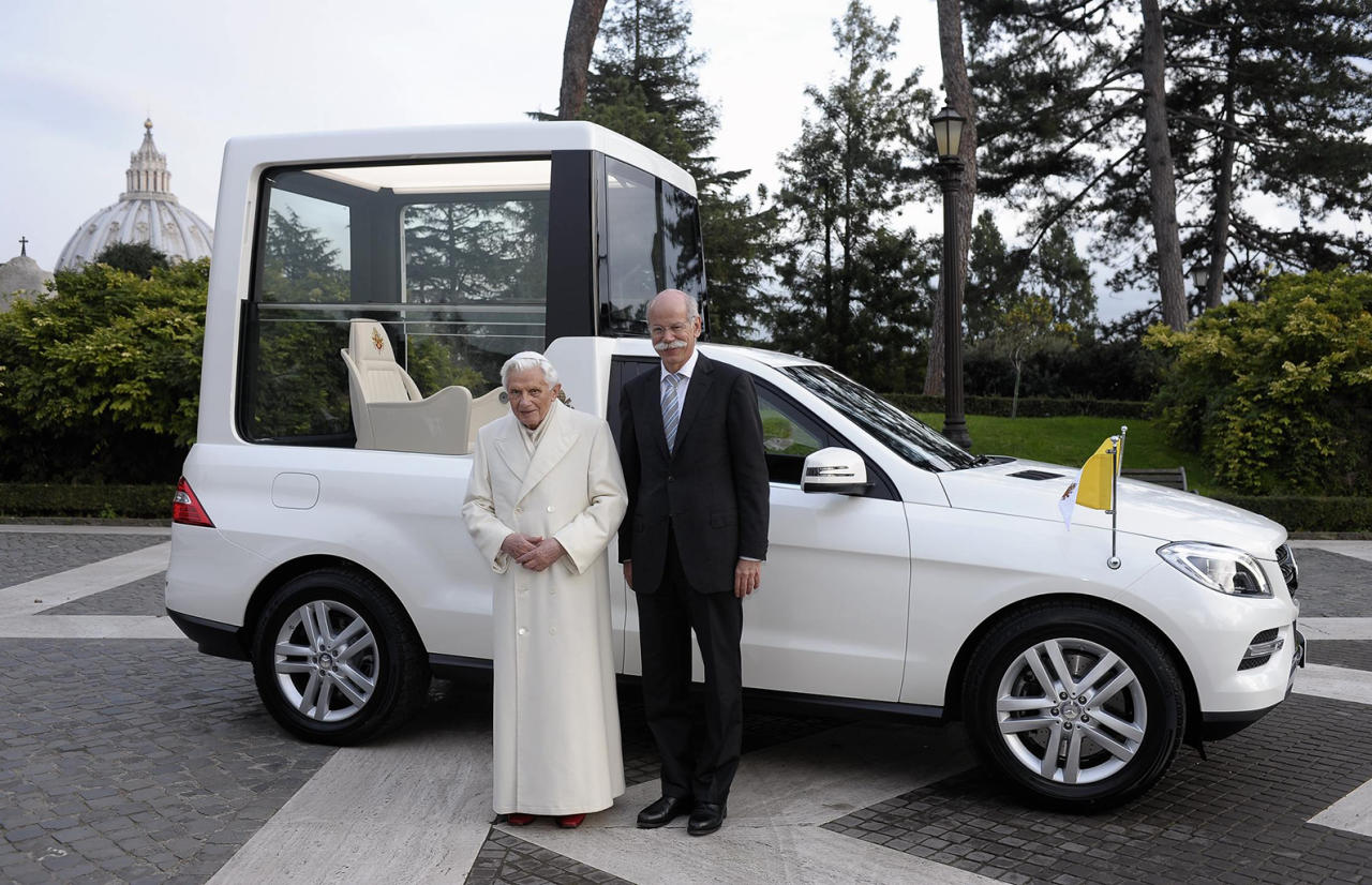 "Dr Dieter Zetsche, Chairman of the Board of Management of Daimler AG and Head of Mercedes-Benz Cars, delivers a Mercedes-Benz M-Class to Pope Benedict XVI on December 7, 2012. The ""Popemobile"" was specifically produced for the Pope with special-purpose body."