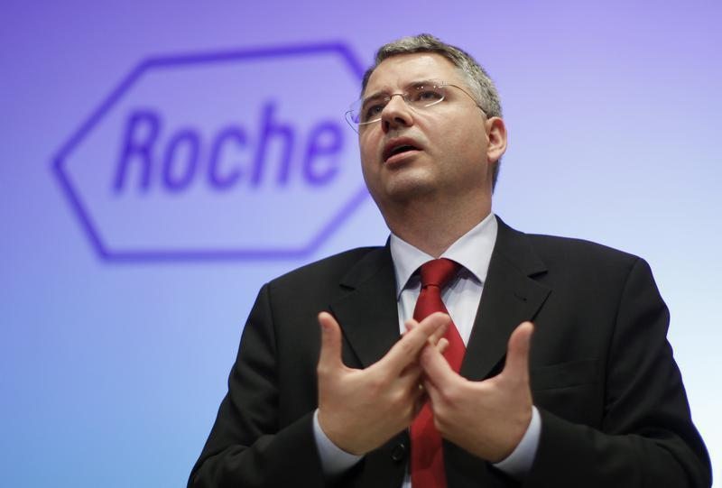 Roche CEO Schwan speaks during the annual news conference in Basel
