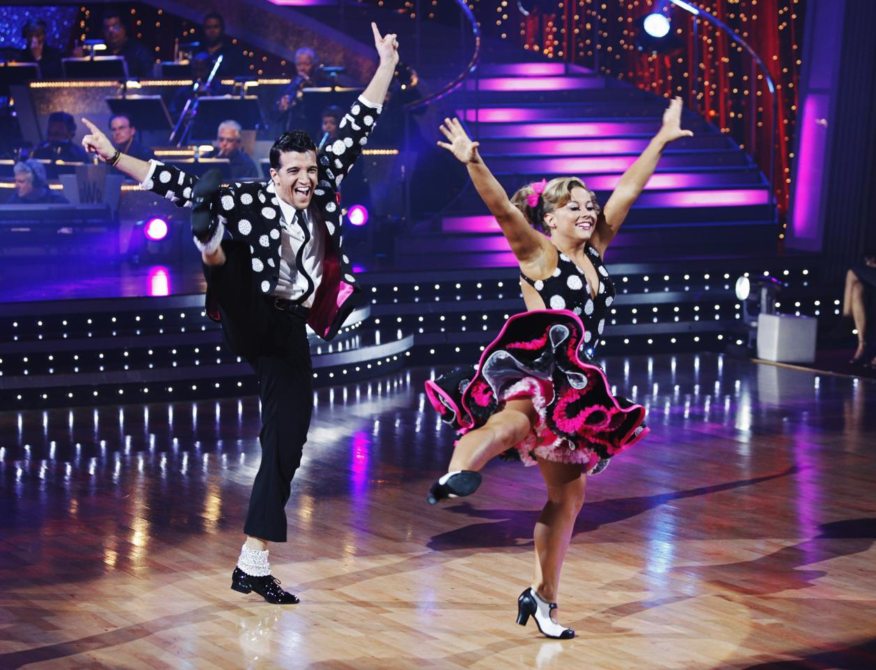 """Mark Ballas and Shawn Johnson perform during the semi-finals of """"Dancing with the Stars,"""" May, 11, 2009, in Los Angeles."""