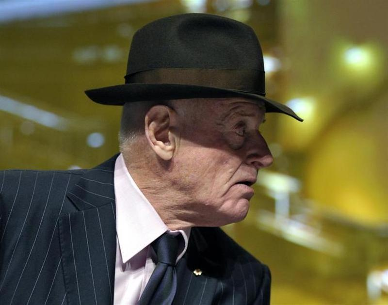Barrick Gold Corporation Chairman Peter Munk leaves the annual general meeting of shareholders in Toronto