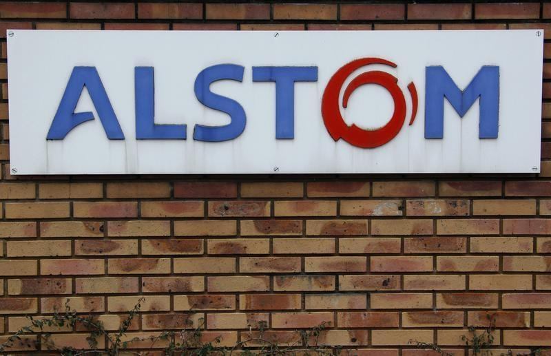 The logo of French power and transport engineering company Alstom is pictured on a wall of the company's plant in Reichshoffen, near Haguenau