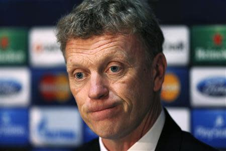 File photo of Manchester United's manager David Moyes listening to a question during a news conference in Manchester