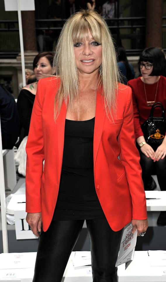 LONDON, ENGLAND - SEPTEMBER 16:  Jo Wood attends the front row for the Vivienne Westwood Red Label show on day 3 of London Fashion Week Spring/Summer 2013, at the British Foreign & Commonwealth Office on September 16, 2012 in London, England.  (Photo by Gareth Cattermole/Getty Images)