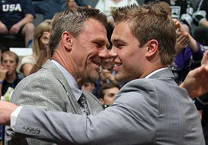 Taylor Hall, right, hugs his father, Steve, after being taken first-overall at the 2010 NHL Entry Draft