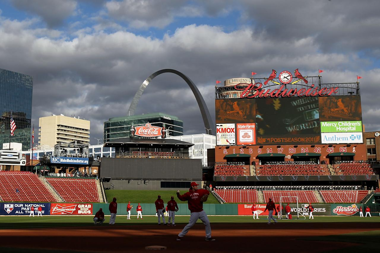 ST LOUIS, MO - OCTOBER 20:  The St. Louis Cardinals practice on the field prior to Game Two of the MLB World Series against the Texas Rangers at Busch Stadium on October 20, 2011 in St Louis, Missouri.  (Photo by Ezra Shaw/Getty Images)