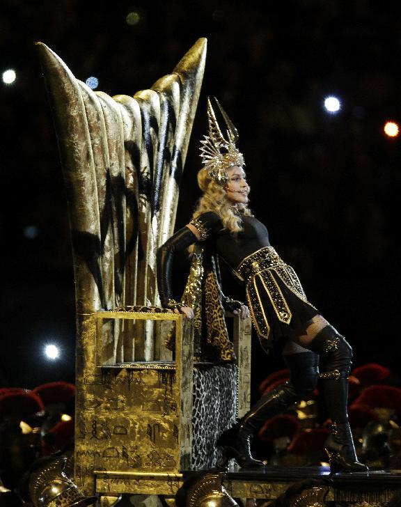 Madonna performs during halftime of the NFL Super Bowl XLVI football game between the New England Patriots and the New York Giants, Sunday, Feb. 5, 2012, in Indianapolis. (AP Photo/Elise Amendola)