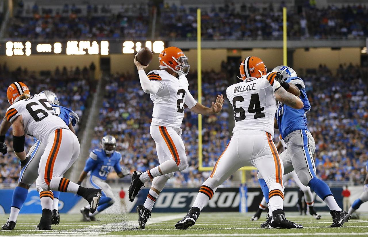 Cleveland Browns quarterback Johnny Manziel (2) throws against the Detroit Lions in the second half of a preseason NFL football game at Ford Field in Detroit, Saturday, Aug. 9, 2014. (AP Photo/Rick Osentoski)