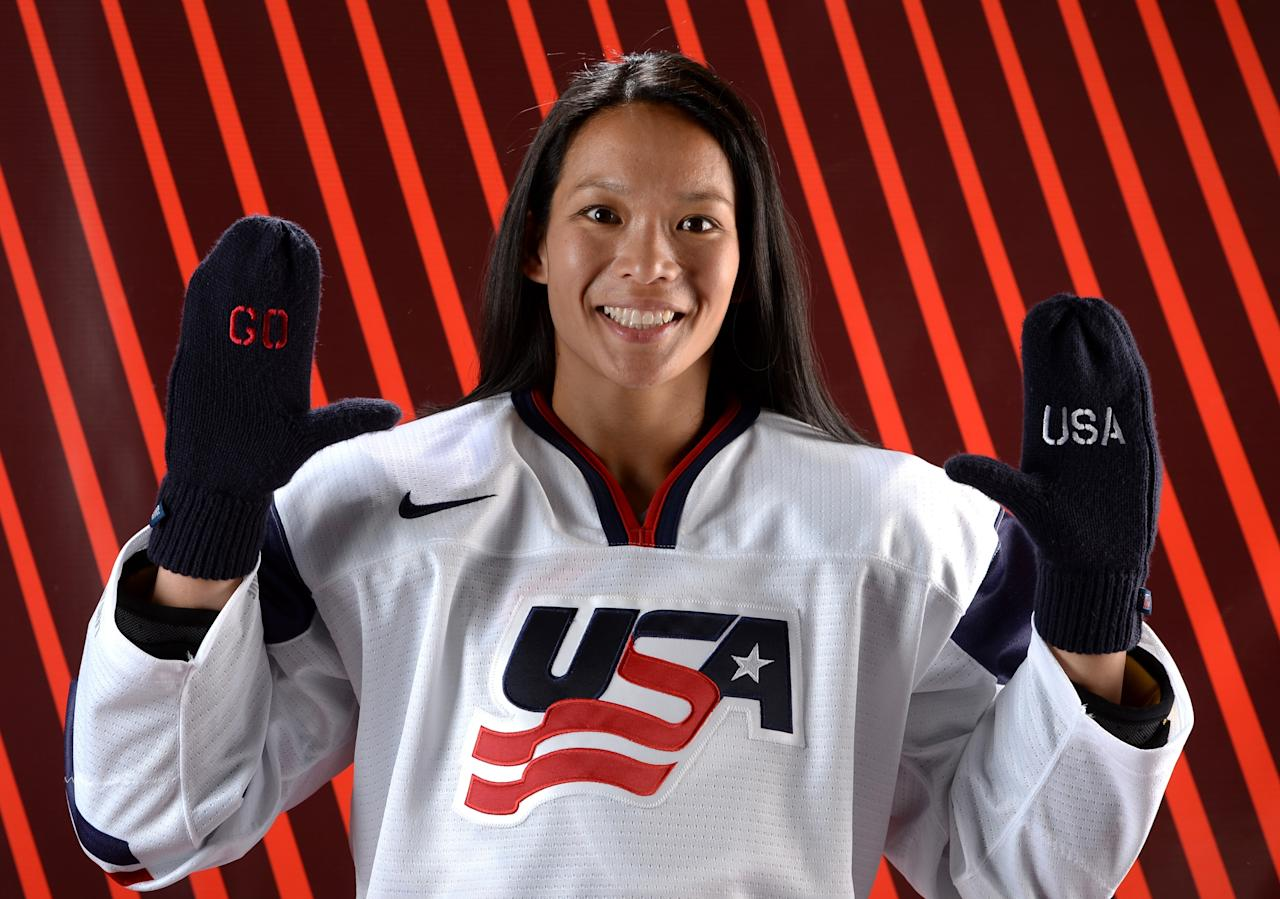 PARK CITY, UT - OCTOBER 02: Ice Hockey player Julie Chu poses for a portrait during the USOC Media Summit ahead of the Sochi 2014 Winter Olympics on October 2, 2013 in Park City, Utah. (Photo by Harry How/Getty Images)