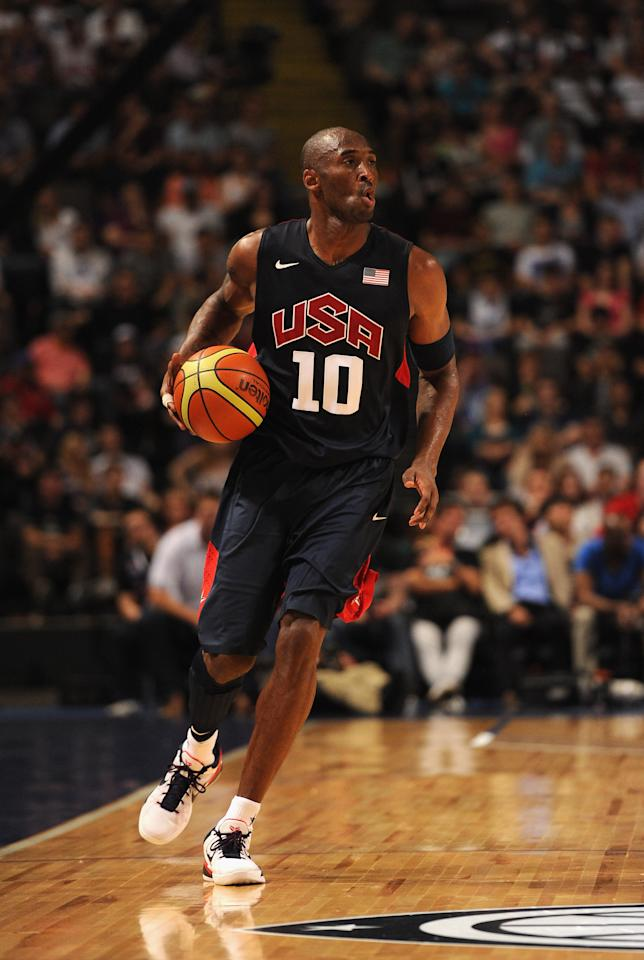 MANCHESTER, ENGLAND - JULY 19:  USA player Kobe Bryant  in action during the Men's Exhibition Game between USA and Team GB at Manchester Arena on July 19, 2012 in Manchester, England.  (Photo by Stu Forster/Getty Images)