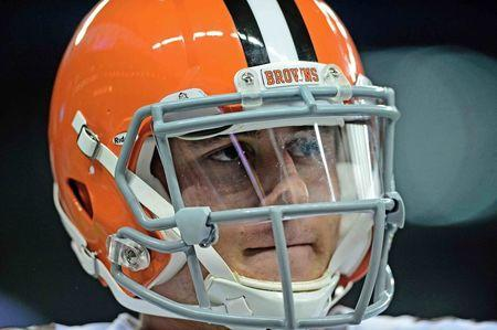 File photo of Cleveland Browns quarterback Johnny Manziel looks on prior to the game against the Detroit Lions in Detroit