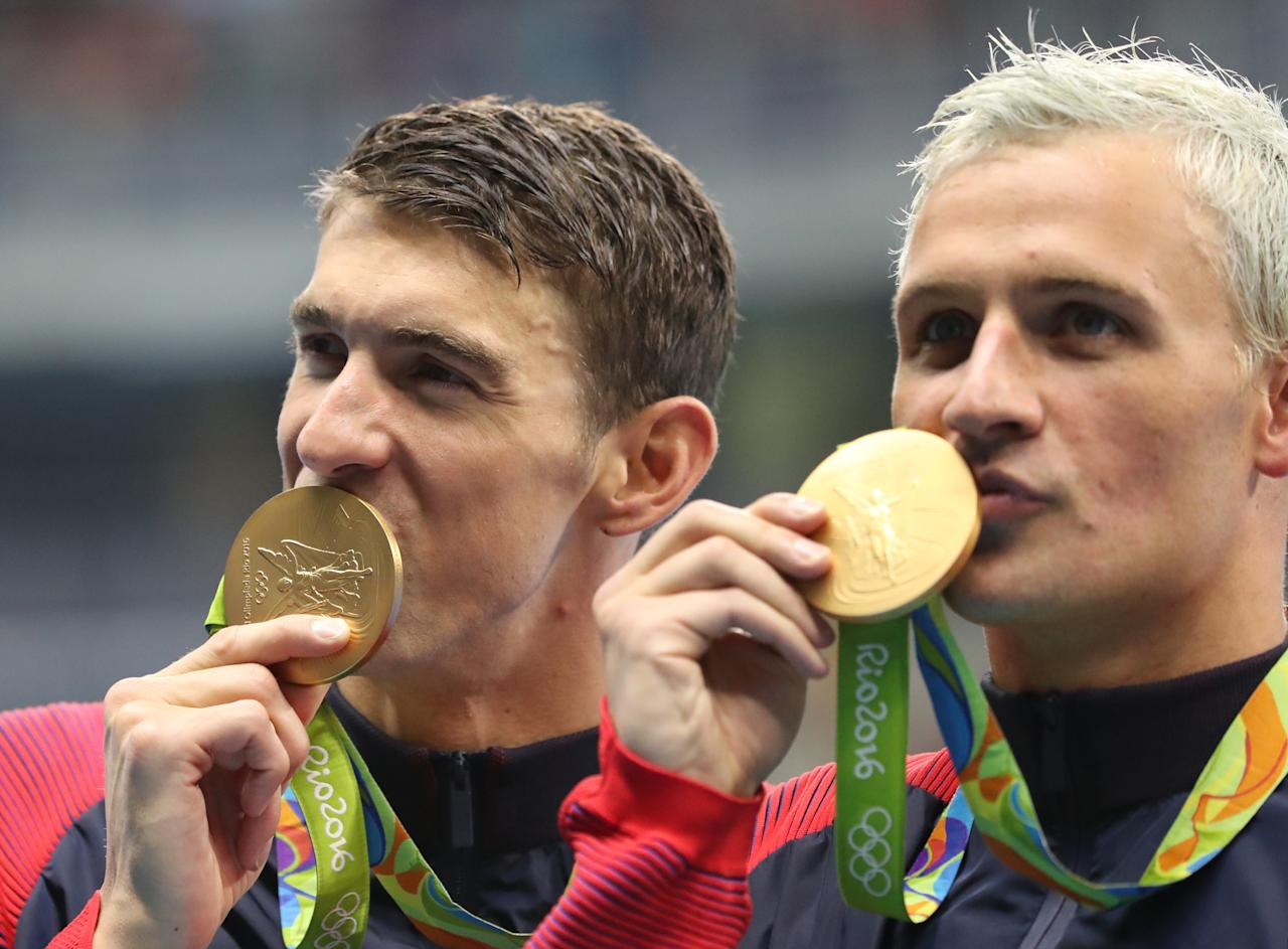 """<p> FILE - In this Wednesday, Aug. 10, 2016, file photo, United States' Michael Phelps, left, and Ryan Lochte celebrate winning the gold medal in the men's 4x200-meter freestyle relay during the swimming competitions at the 2016 Summer Olympics in Rio de Janeiro, Brazil. Phelps isn't sure what kind of moves Lochte has planned for """"Dancing with the Stars."""" """"I've never seen him dance,"""" the 23-time Olympic gold medalist said Friday, Sept. 2, at the """"Call of Duty"""" fan convention in Inglewood, Calif. (AP Photo/Lee Jin-man, File) </p>"""