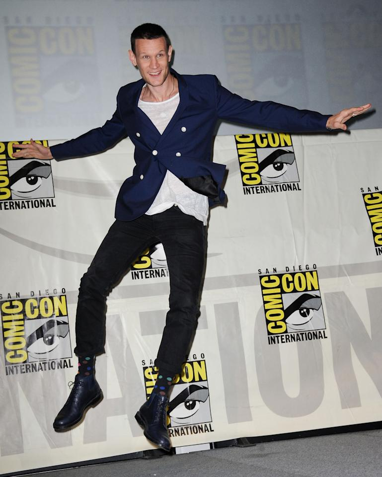 """Matt Smith onstage at BBC America's """"Doctor Who"""" 50th Anniversary panel during Comic-Con International 2013 at San Diego Convention Center on July 21, 2013 in San Diego, California."""