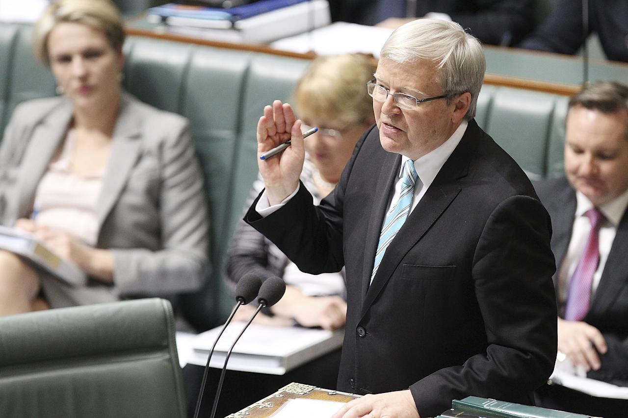 CANBERRA, AUSTRALIA - JUNE 27: Prime Minister Kevin Rudd speaks during House of Representatives question time on June 27, 2013 in Canberra, Australia. Kevin Rudd won an Australian Labor Party leadership ballot 57-45 last night, and will be sworn in this morning as Australian Prime Minister by Governor-General Quentin Bryce. Rudd was Prime Minister from 2007 to 2010 before he was dumped by his party for his deputy Julia Gillard. Gillard has announced that she will leave parliament and not contest her seat following her ballot loss. (Photo by Stefan Postles/Getty Images)