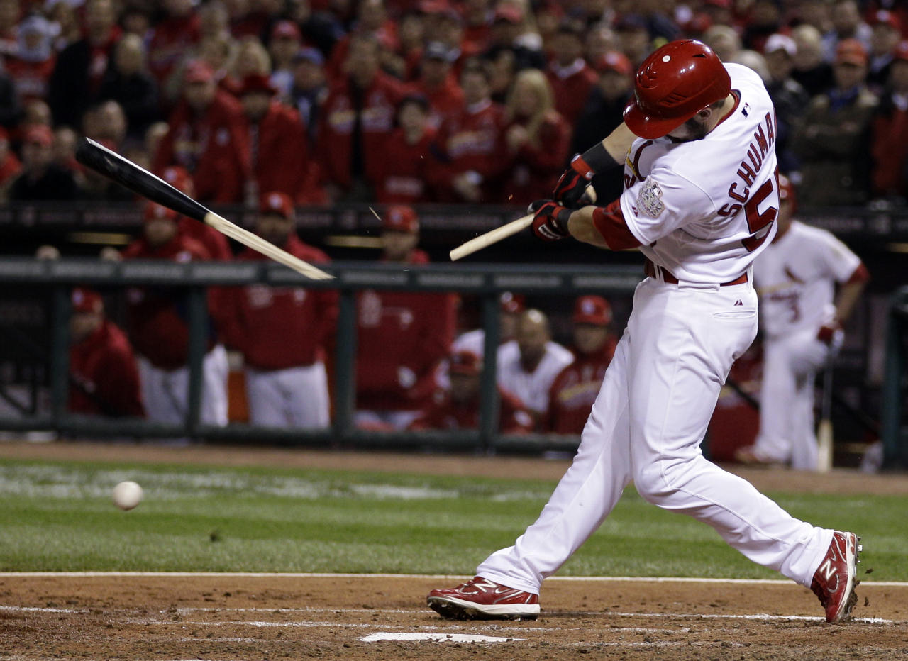 St. Louis Cardinals' Skip Schumaker breaks his bat as he grounds out during the fourth inning of Game 7 of baseball's World Series against the Texas Rangers Friday, Oct. 28, 2011, in St. Louis. (AP Photo/Matt Slocum)