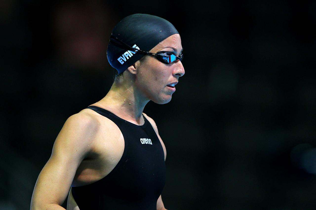 OMAHA, NE - JUNE 26:  Janet Evans looks on prior to swimming in preliminary heat 6 of the Women's 400 m Freestyle during Day Two of the 2012 U.S. Olympic Swimming Team Trials at CenturyLink Center on June 26, 2012 in Omaha, Nebraska.  (Photo by Al Bello/Getty Images)