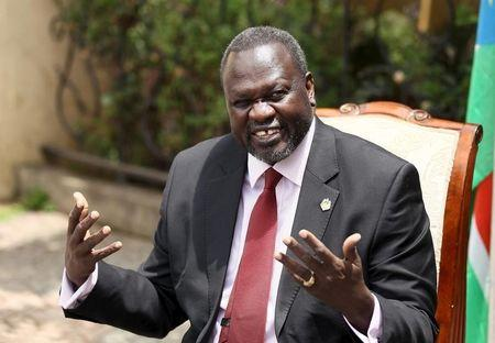 South Sudan's rebel leader Riek Machar addresses a news conference in his office in Ethiopia's capital Addis Ababa