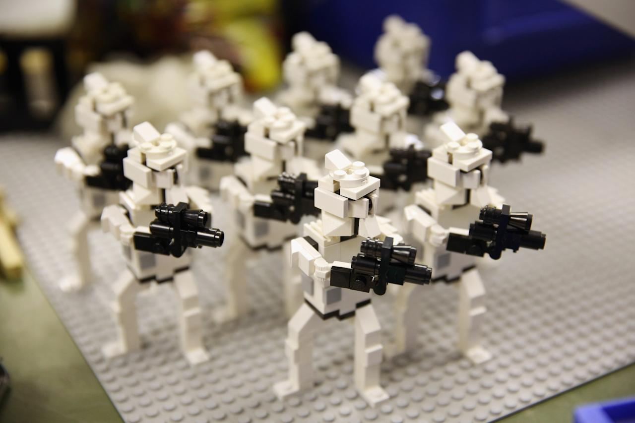 WINDSOR, ENGLAND - JULY 03: Star Wars figures created by LEGO Model Makers in the Model Making Studio at the LEGOLAND Windsor Resort on July 3, 2013 in Windsor, England. LEGOLAND Windsor Resort, which has been open since 1996, has 55 interactive rides and attractions and thousands of LEGO models made from around 80 million individual bricks. LEGOLAND Windsor employs 4 Model Makers who design, build and maintain all of the LEGO models on site. (Photo by Oli Scarff/Getty Images)