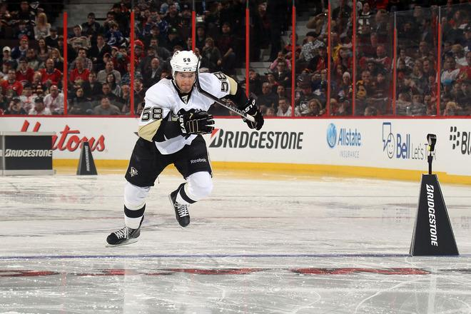 OTTAWA, ON - JANUARY 28:  Kris Letang #58 of the Pittsburgh Penguins and team Alfredsson skates during the Bridgestone NHL Fastest Skater part of the 2012 Molson Canadian NHL All-Star Skills Competition at Scotiabank Place on January 28, 2012 in Ottawa, Ontario, Canada.  (Photo by Bruce Bennett/Getty Images)