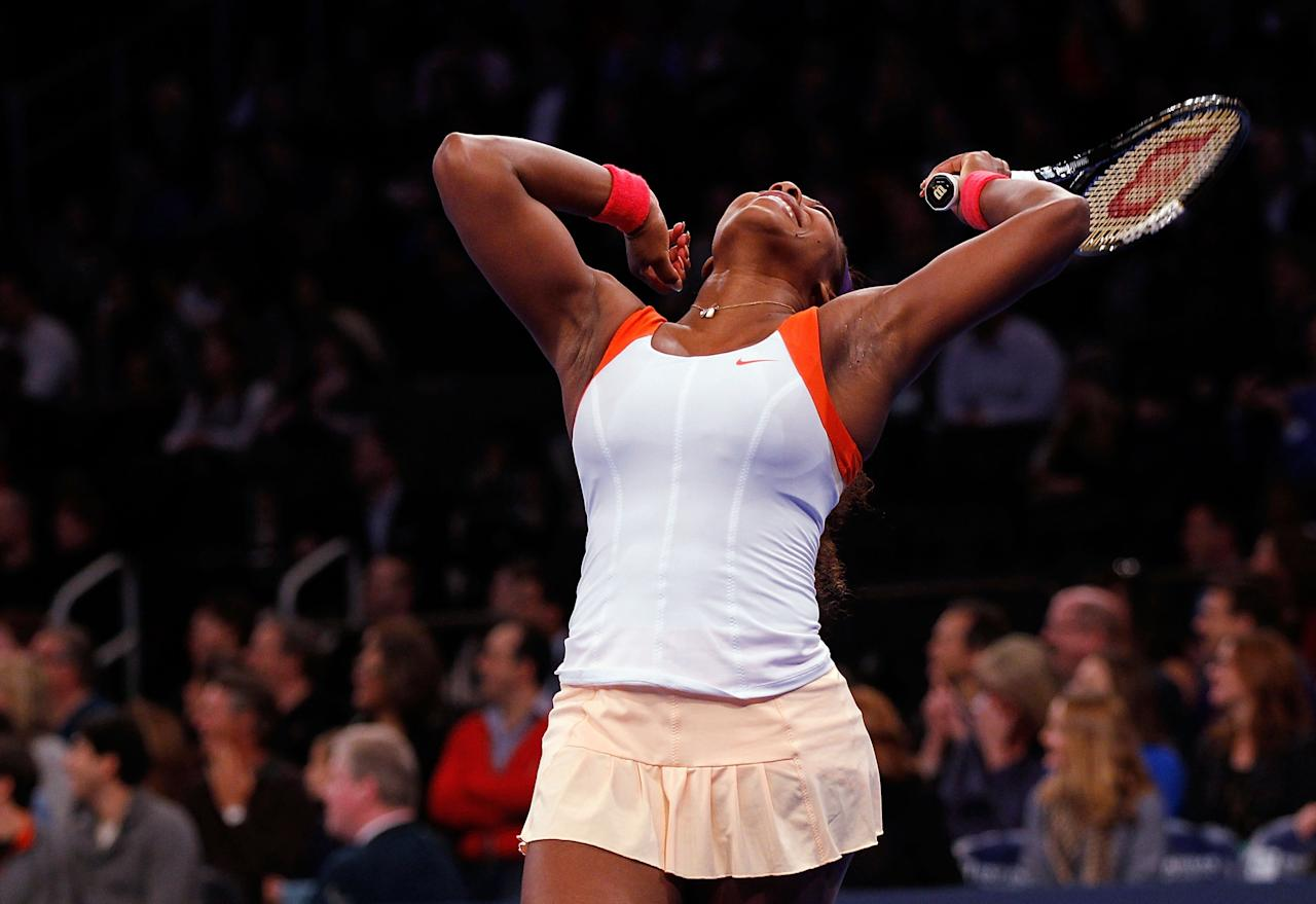 NEW YORK, NY - MARCH 04:  Serena Williams of the USA reacts against Victoria Azarenka of Belarus during the BNP Paribas Showdown at Madison Square Garden on March 4, 2013 in New York City.  (Photo by Mike Stobe/Getty Images for StarGames)