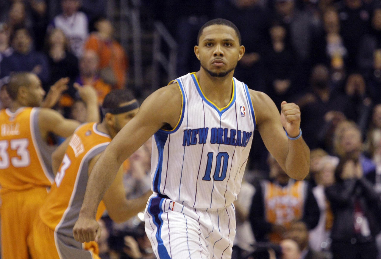 New Orleans Hornets' Eric Gordon reacts after making the game-winning shot against the Phoenix Suns in the fourth quarter of an NBA basketball game, Monday, Dec. 26, 2011, in Phoenix. The Hornets won 85-84. Gordon came to New Orleans in the trade that sent Chris Paul to the Los Angeles Clippers. (AP Photo/Paul Connors)