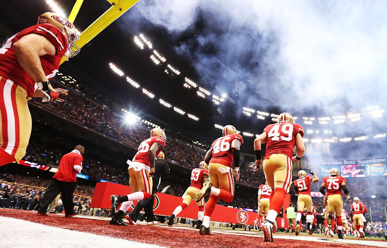 The San Francisco 49ers take the field against the Baltimore Ravens during Super Bowl XLVII at the Mercedes-Benz Superdome on February 3, 2013 in New Orleans, Louisiana.  (Photo by Christian Petersen/Getty Images)