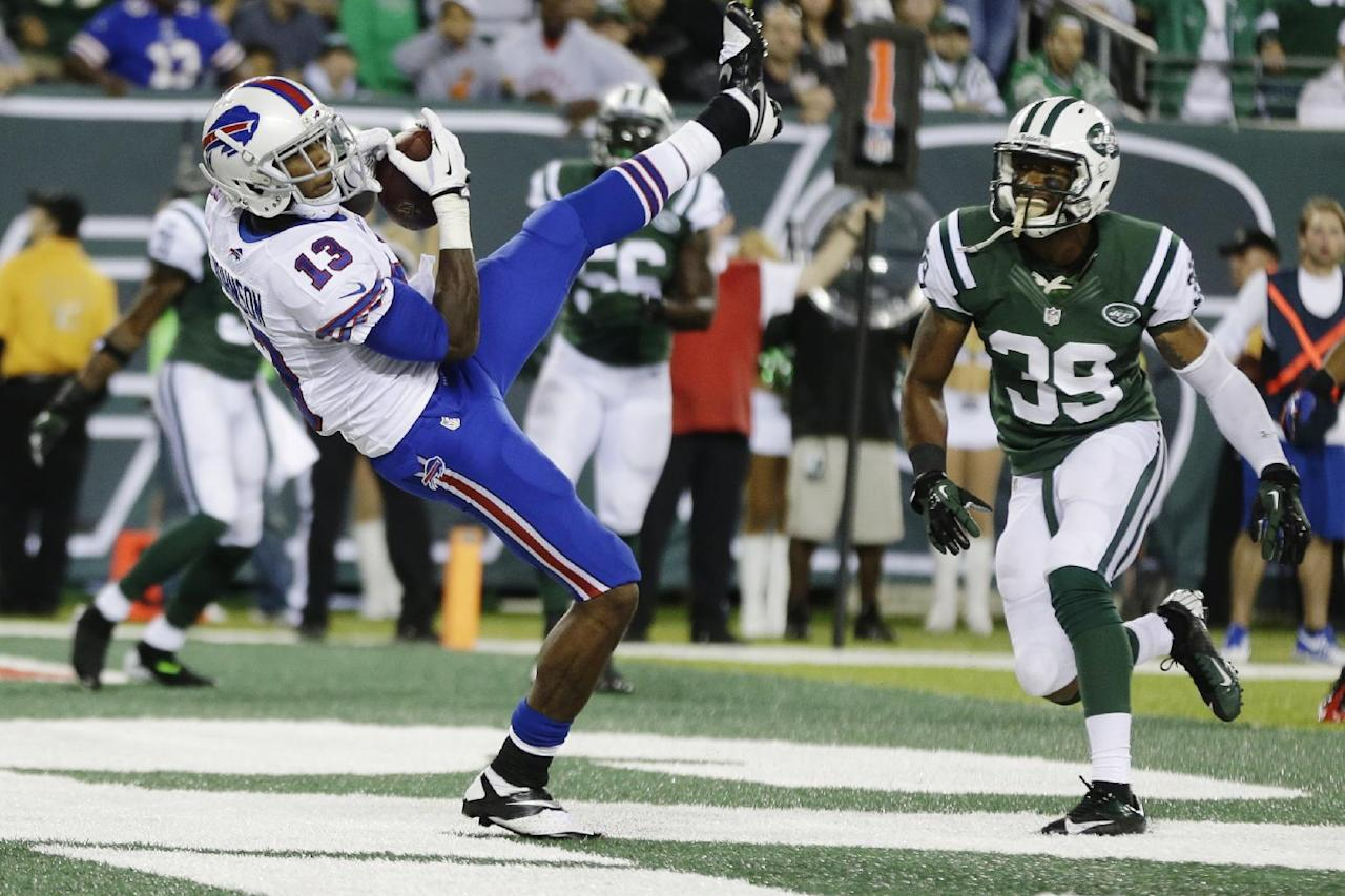 Buffalo Bills wide receiver Stevie Johnson (13) catches a two-point conversion during the second half of an NFL football game against the New York Jets Sunday, Sept. 22, 2013, in East Rutherford, N.J. (AP Photo/Seth Wenig)