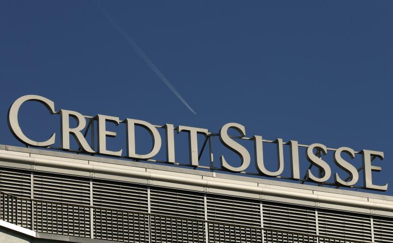 The logo of Swiss bank Credit Suisse is seen on an office building in Zurich