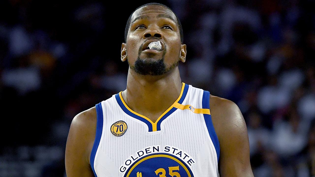 Kevin Durant was able to participate in a light practice session on Friday but he is no certainty to play on Saturday.