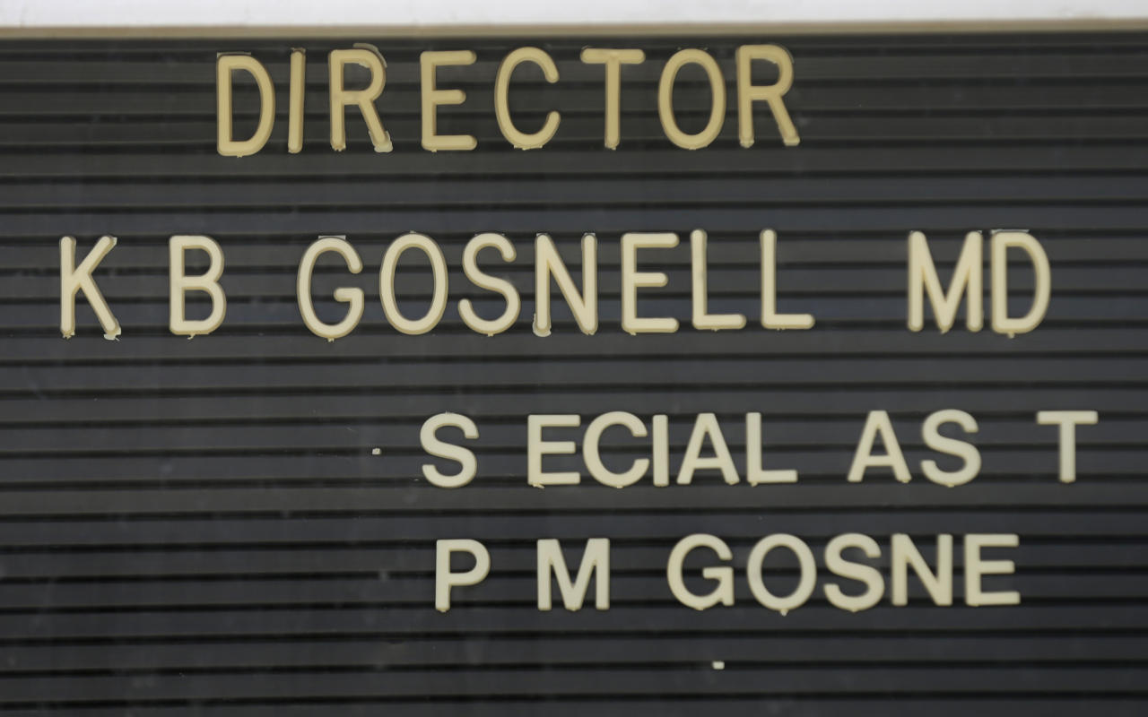 Letters are missing from the directory of Dr. Kermit Gosnell's former facility, the Women's Medical Society, in Philadelphia on Wednesday, May 1, 2013. Gosnell, who catered to poor women, was charged Wednesday Jan. 19, 2011, with eight counts of murder in the deaths of a patient and seven babies who were born alive and then killed according to prosecutors. Prosecutors said Gosnell employed untrained, unlicensed workers in a deplorable facility with broken or unsterile equipment. (AP Photo/Matt Rourke)
