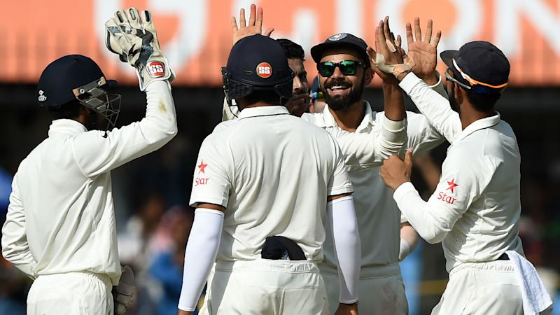 New Zealand at 38-1 in 9 overs at tea against India