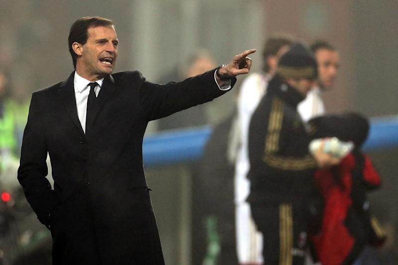 Then AC Milan coach Massimiliano Allegri pictured during the Serie A match between Sassuolo and AC Milan at the Mapei Arena stadium in Reggio Emilia, on January 12, 2014
