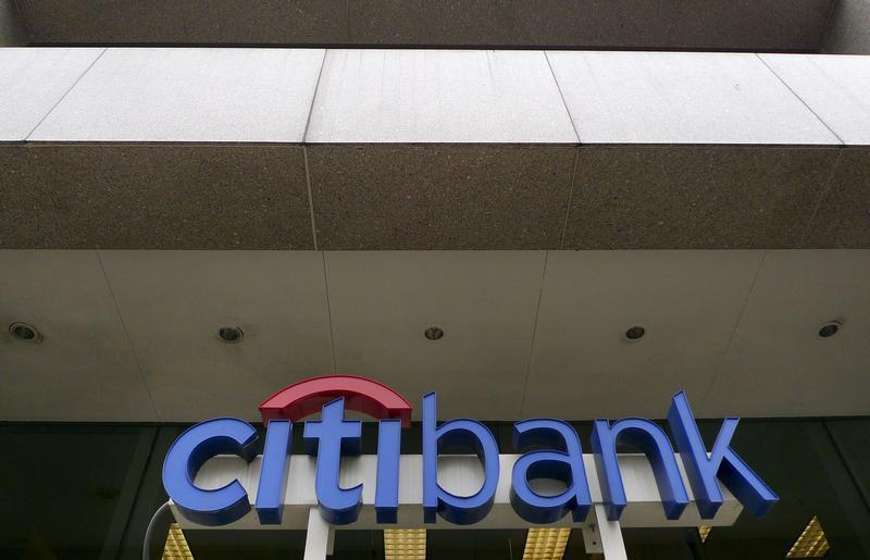 The Citibank logo is seen at branch in Washington