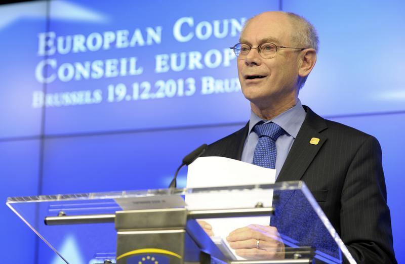 European Council President Van Rompuy addresses a news conference during a European Union leaders summit in Brussels