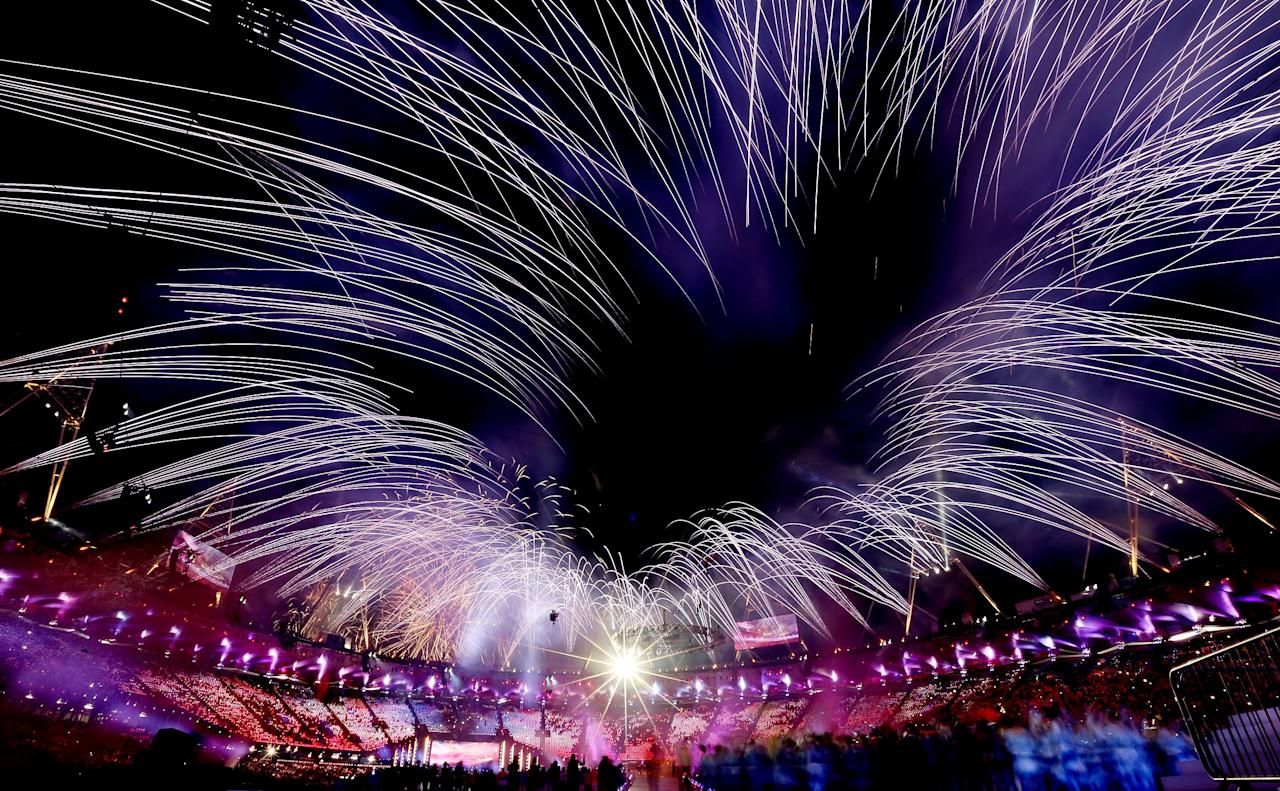 LONDON, ENGLAND - AUGUST 12:  Fireworks explode over the stadium during the Closing Ceremony on Day 16 of the London 2012 Olympic Games at Olympic Stadium on August 12, 2012 in London, England.  (Photo by Julian Finney/Getty Images)