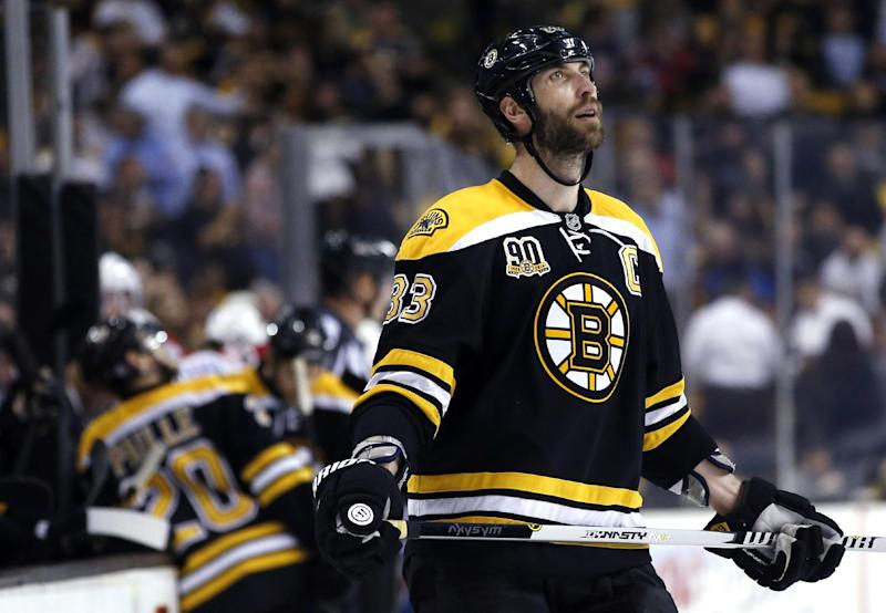 Boston Bruins defenseman Zdeno Chara (33) reacts during a timeout after the Montreal Canadiens scored their third goal of the game, during the third period in Game 7 of an NHL hockey second-round playoff series in Boston, Wednesday, May 14, 2014. The Canadiens won 3-1 to close out the series
