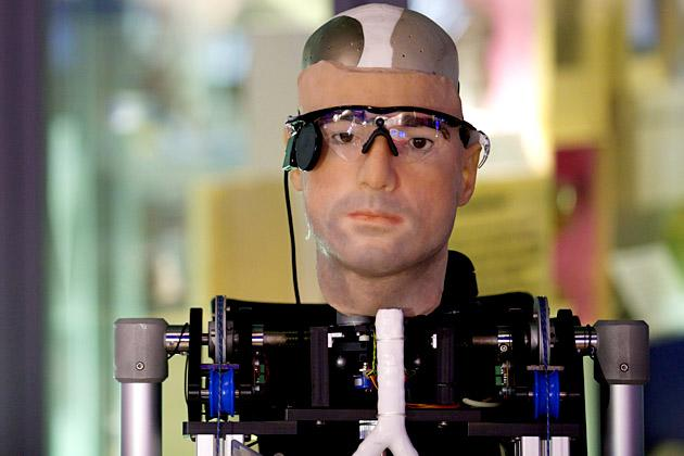 "A picture shows ""Rex"", the world's first ""bionic man"", during a photo call at the Science Museum in London on February 5, 2013. The 640,000 GBP (1 million US dollars) humanoid has a distinctly human shape and boasts prosthetic limbs, a functional artificial blood circulatory system complete with artificial blood, as well as an artificial pancreas, kidney, spleen and trachea. Rex will be displayed at the Science Museum from February 7.  AFP PHOTO/ANDREW COWIE"