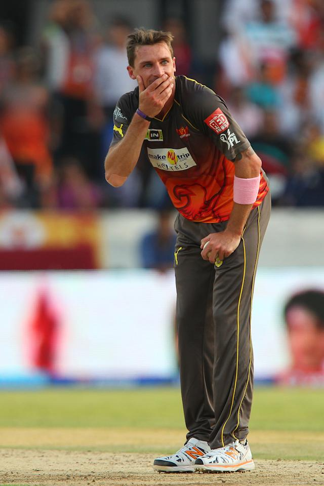 Dale Steyn reacts after an unsuccessful appeal for the wicket of  Kieron Pollard during match 43 of the Pepsi Indian Premier League between The Sunrisers Hyderabad and Mumbai Indians held at the Rajiv Gandhi International  Stadium, Hyderabad  on the 1st May 2013..Photo by Ron Gaunt-IPL-SPORTZPICS ..Use of this image is subject to the terms and conditions as outlined by the BCCI. These terms can be found by following this link:..http://www.sportzpics.co.za/image/I0000SoRagM2cIEc